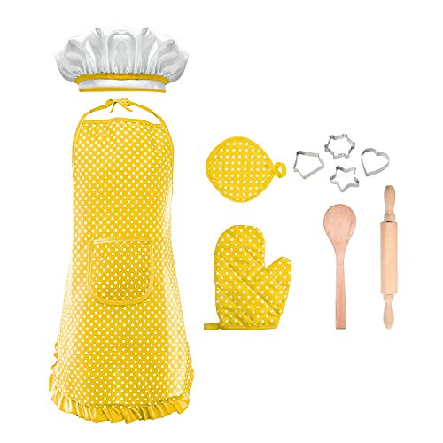 Kids Holiday Apron Set - LET'S GO! Chef Costume for Kids Toddler Girls , Kids Chef Set Children Cooking Play Best Gifts for 3-8 Year Old Girls Kids Chef Hat and Apron Popular Toys for Girls Boys Age 3-8 Yellow DMCF3