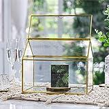 "NCYP Large Inches Geometric Glass Decor Card Box Terrarium Centerpiece Tabletop Planter Handmade Copper House Shape Flower Pot for Plants Succulents (10.2"" X 8.3"" X 6.3"" )"