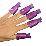 HIGHROCK 10Pcs Acrylic Nail Art Polish Remover Wrap Cleaner Superior Clip Caps (Purple)