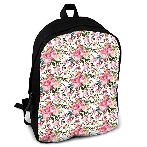 Harper Pink Bouquet Florals Interest Print Custom Unique Casual Backpack School Bag Travel Daypack Gift