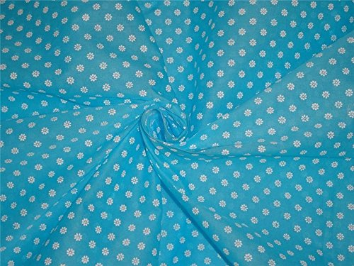Cotton organdy floral printed fabric blue 44