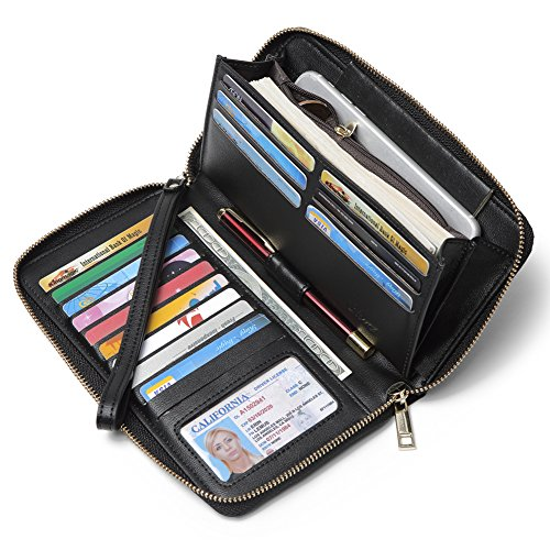 apacity Leather Zipper Around Clutch Card Holder Organizer Ladies Travel Purse with Removable Wristlet Strap black ()