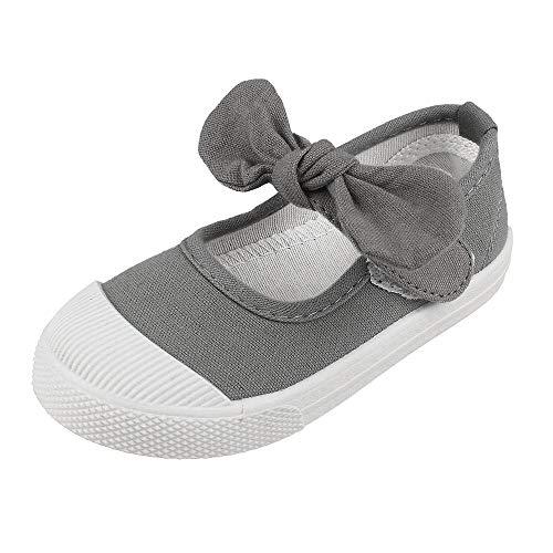 (Girls' School Uniform Dress Shoe Kids Canvas Bowknot Mary Jane Flat Sneakers, Gray 10.5)