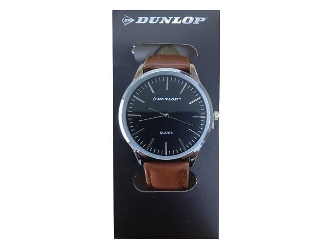 Dunlop 08379 - Reloj analógico Unisex con Cinta Negra, Carcasa Plateada, cronógrafos Plateados y Correa marrón: Amazon.es: Relojes