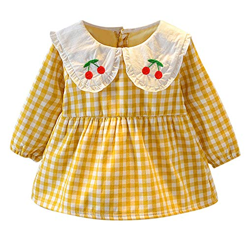 nt Baby Girls Long Sleeve Cherry Print Plaid Dress Outfit Clothes (Yellow, 3-6 Months) ()