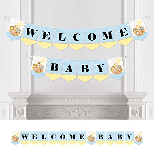 Big Dot of Happiness Noah's Ark - Baby Shower Bunting Banner - Animal Party Decorations - Welcome Baby]()