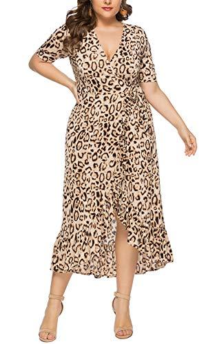 Eternatastic Womens Leopard Printed Wrap Dress Plus Size Long Dresses 4XL - Dress Printed Leopard