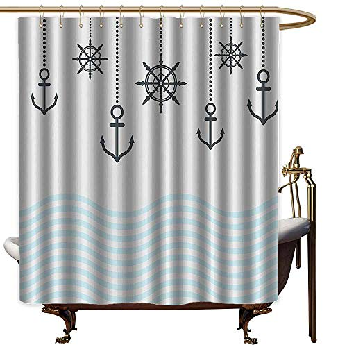 Shower Curtains Gray and Yellow Anchor Decor Collection,Anchors with The Chains on Top of The Ocean Waves Be Strong in Difficulties Theme,Grey Blue,W65 x L72,Shower Curtain for Girls Bathroom