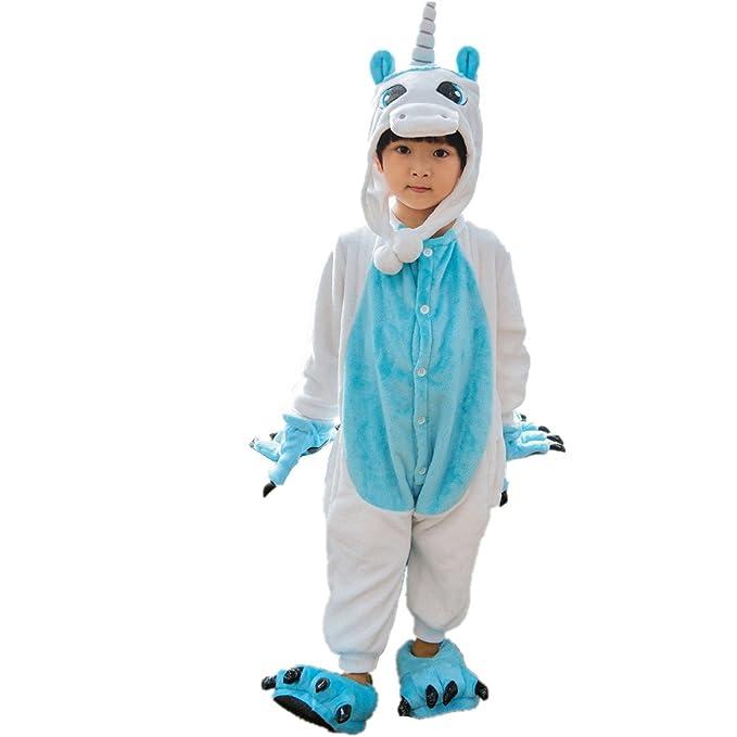 LifenewBaby - Pijama de una pieza - Manga Larga - para niña azul Unicornio Azul XXS