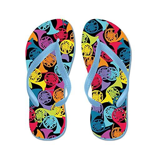 Cafepress Kleurrijke Franse Hoorns - Flip Flops, Grappige String Sandalen, Strand Sandalen Caribbean Blue