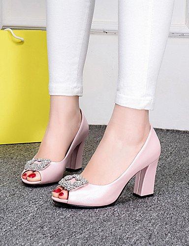 LFNLYX Zapatos de mujer-Tacón Robusto-Tacones / Punta Abierta-Sandalias-Oficina y Trabajo / Vestido / Casual-PU-Azul / Rosa / Blanco White