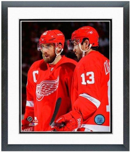 """Henrik Zetterberg & Pavel Datsyuk Detroit Red Wings 2013 NHL Action Photo 12.5"""" x 15.5"""" Framed"""