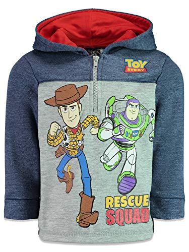 Disney Pixar Toy Story Toddler Boys Fleece Hoodie Pullover Sweatshirt Zipper, Navy 4T