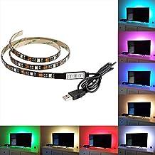 AENMIL 5050 USB Led Strip, Moving RGB Light Bar, 1M Color TV Deskto / PC Backlight Lighting with Static Bag Packing