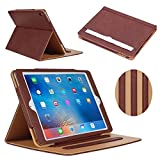 iPad Mini Case, iPad Mini 2 Case, iPad Mini 3 Case, AUCEE Sleep Awake Smart Leather Stand Folio Flip Case Cover with Document Card Pocket, Multiple Viewing Angles for Apple iPad Mini 1/2/3 - Brown