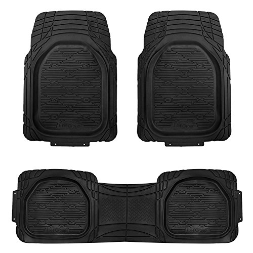 Logo Black Car Mat - FH Group F11323BLACK Floor Mat (Supreme Rubber Trimmable for Cars, SUVs, and Trucks), 1 Pack