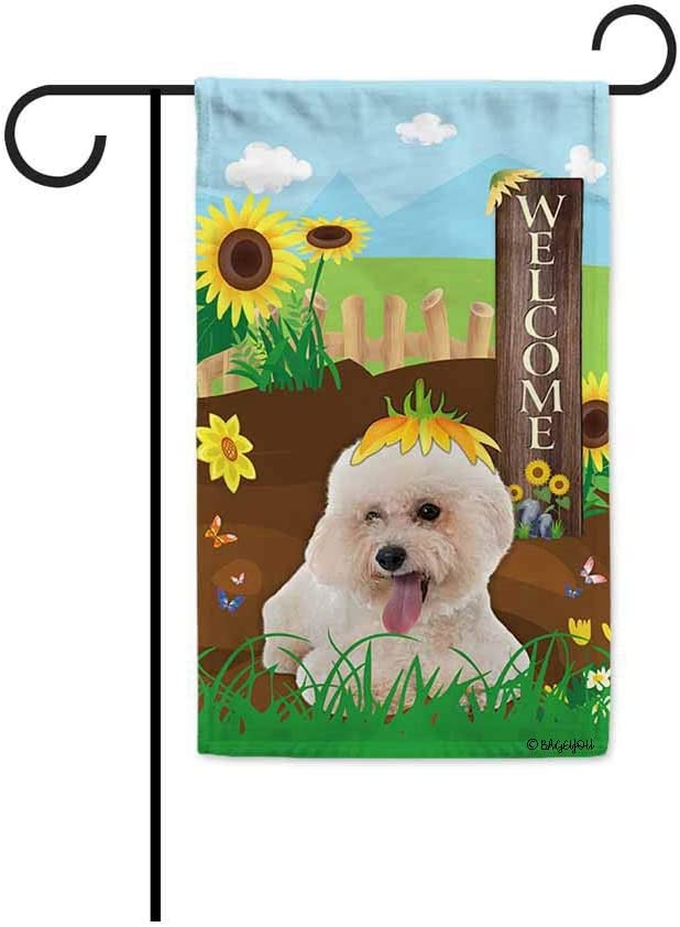 BAGEYOU Welcome Summer Sunflower Dog Garden Flag Bichon Frise Maltese Dog Playing on a Country Farm Butterfly Flowers Decor Banner for Outside 12.5x18 Inch Print Double Sided
