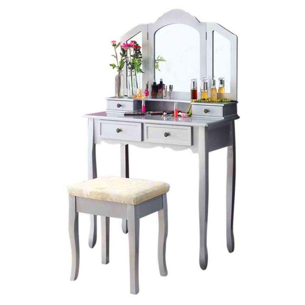 BS Silver Tri Folding Mirror Vanity Set Makeup Hairdressing Table Dresser with Bench 4 Drawer Wooden Stool Cushioned Bedroom Decor Storage Beauty & eBook by BADA Shop