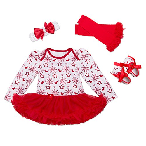 [Baby Girls Christmas Tutu Romper Dress Headband 4PCS Party Outfits Set (S (0-3 months), Snowflakes)] (Cute Santa Outfits)