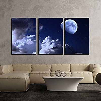 Night Sky with The Moon Clouds and Stars x3 Panels 24