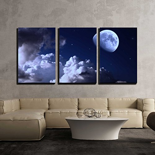Night Sky with The Moon Clouds and Stars x3 Panels