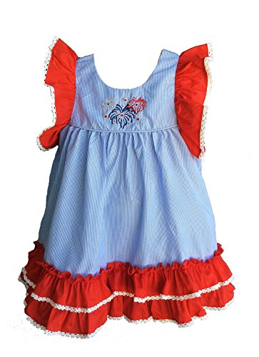 Sassy Smock Blue and White Pinstripe Empire Waist Dress with Firework Embroidery (18 - Smock Dress White