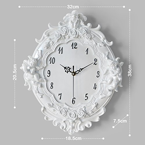 Stylish, Silent Wall Clock Home,Kitchen,OfficeEuropean Mute Wall Clock Garden Creative Modern Simple 16 inch Living Room Home Bedroom Wall Decoration Clock Table, 16 inches, White Pearl White