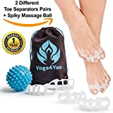 hummer gym - Toe Separators - Yoga Gel Toe Spacers - Toe Spreaders for Bunion - Hummer Toe Straightener - Overlapping Toes Stretcher Alignment - Foot Pain Relief - Spiky Massage Ball Set - Soft Silicone Men Women