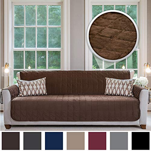 (Gorilla Grip Original Velvet Slip Resistant Luxury Oversize Sofa Slipcover Protector, Seat Width Up to 78 Inch Patent Pending, 2 Inch Straps, Hook, Couch Furniture Cover, Oversize Sofa, Chocolate)