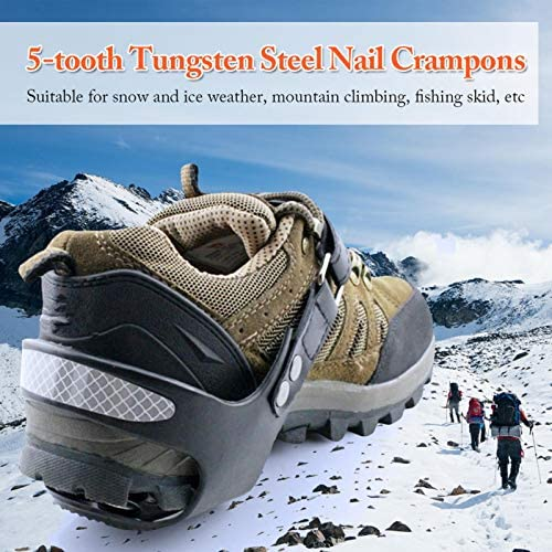 Durable Ice Snow Grips Crampons, Adjustable 5-Teeth Non-Slip Gripper Spikes Shoes Covers with Reflective, Winter Ice Insole Snow Walk Traction Cleats for Walking on Snow and Ice Hiking Jogging