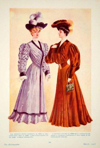 [1905 Color Print Edwardian Art Fashion Model Ladies Draped Redingote Blouse Hat - Original Color Print] (Costume Redingote)