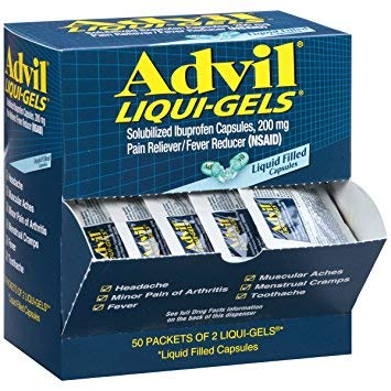 Advil Liqui-Gels Pain Reliever/Fever Reducer Liquid Filled Capsule Refill, 200mg Ibuprofen, Temporary Pain Relief (50 Packets of 2 Capsules) (3 Pack(100 Count))