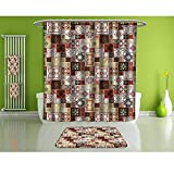 HoBeauty home Bathroom Suits &,Moroccan,Vintage Square Pattern,Fashion Personality Customization adds Color to Your Bathroom.