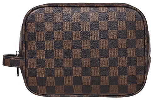 Rita Messi Luxury Checkered Make Up Bag Leather Cosmetic Toiletry Travel Bag (Victoria) ()