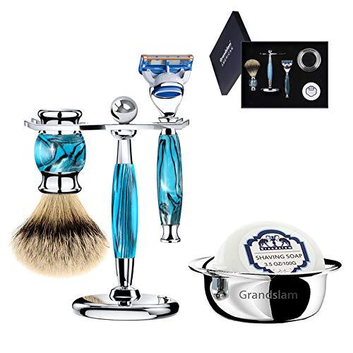 Luxury Shaving Gift Set Safety Razor Shaving Brush Stand for Men Grooming Set for Father