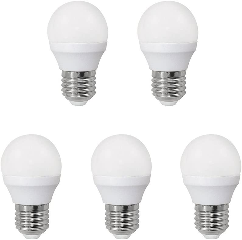 Pack 5 x Bombilla LED esférica 6W (equivalente a 40W) Luz neutra, no dimmable, E27, 470 Lm, 25000 horas de vida