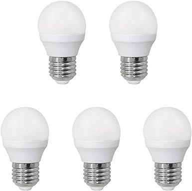 Pack 5 x Bombilla LED esférica 6W (equivalente a 40W) Luz neutra, no dimmable, E27, 470 Lm, 25000 horas de vida: Amazon.es: Iluminación