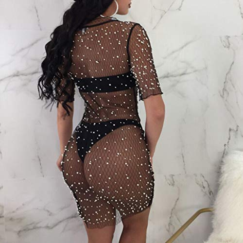 Usstore  Women Mesh Grid Hot Drilling Mini Dress Sexy Charming Sequins Crystal Bikini Swimwear Cover Up Perspective Dress (XL, Black) by Usstore  (Image #2)