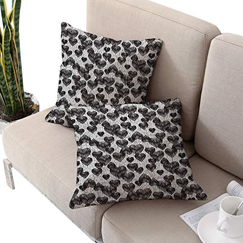 Alexandear Romantic Square Stool Cushion Cover,Gothic Hearts Tattoo Style Valentines Love Graffiti Grunge Illustration Pale Grey Black W14 xL14 2pcs Cushion Cases Pillowcases for Sofa Bedroom Car