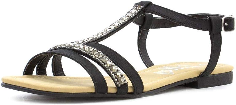 Lilley Womens Black Diamante T-Bar Flat