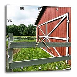 3dRose Danita Delimont - Barns - Classic Red barn on a farm, Hudson, New York, USA. - 15x15 Wall Clock (dpp_259789_3)
