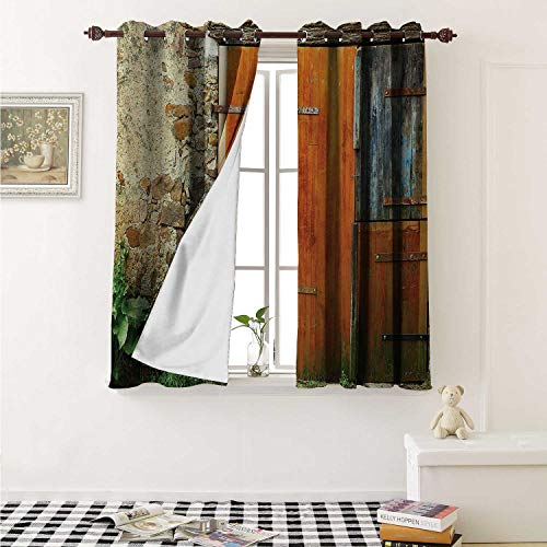 Shutters Thermal Insulating Blackout Curtain Old Fashion Country House French Entrance Stone Wall Farmhouse Picture Print Curtains Girls Room W55 x L39 Inch Orange Green (Furniture French Atlanta)