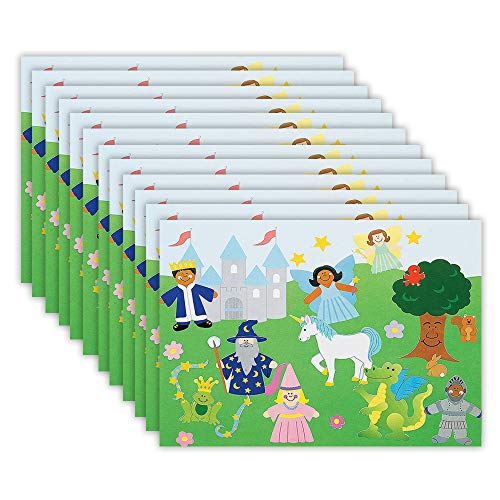 Kicko Make a Fairy Tale Sticker - Set of 12 Fantasy Stickers Scene for Birthday Treat, Goody Bags, School Activity, Group Projects, Room Decor, Arts and Crafts (Fairy Fantasy Crafts)