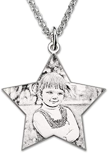 bilingouy Personalized Photo 925 Silver Necklace Picture and Word Pendant Carving Necklace for Your Lovers