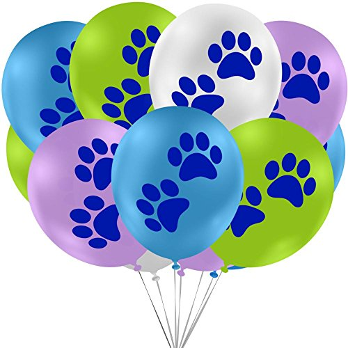 Puppy Dog Paws Printed Party Balloons (16 Count Value Pack) - Green, Blue, Purple, White (Party Stuff)