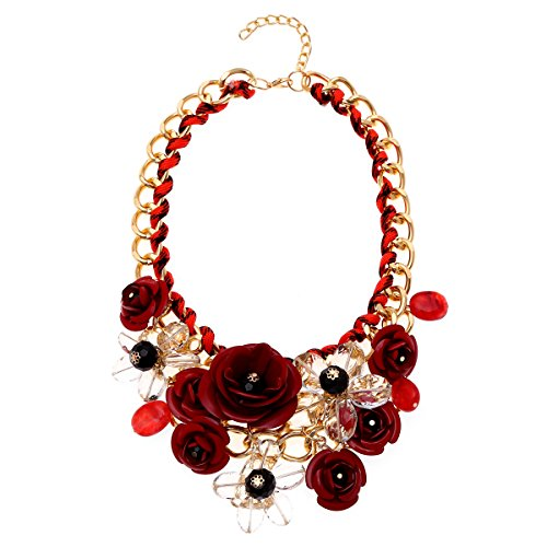 Zhenhui Women Gold Chain Crystal Flowers Charm Pendant Big Chunky Bib Statement Necklace for Clothing (Red +Clear) (Gold Chain Red)