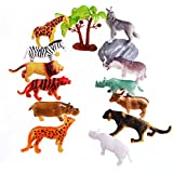 Acekid Mini Wild Forest Animal Figure Toys Animal Action Figure Set Kids Animal Toy Set of 12
