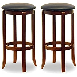 "30"" Swivel Bar Stools with Faux Leather Seat, Set of 2, Black and Walnut + Expert Guide"