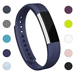 iGK Replacement Bands Compatible for Fitbit Alta and Fitbit Alta HR, Newest Adjustable Sport Strap Smartwatch Fitness Wristbands with Metal Clasp Navy Small
