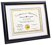 """CreativePF [8UIL-11x14bk/gd] Black Certificate Frame Displays 8.5 by 11"""" Certificates with Mat or 11 by 14"""" Media, Certificates, University, Diploma Frames with Stand & Wall Hanger"""